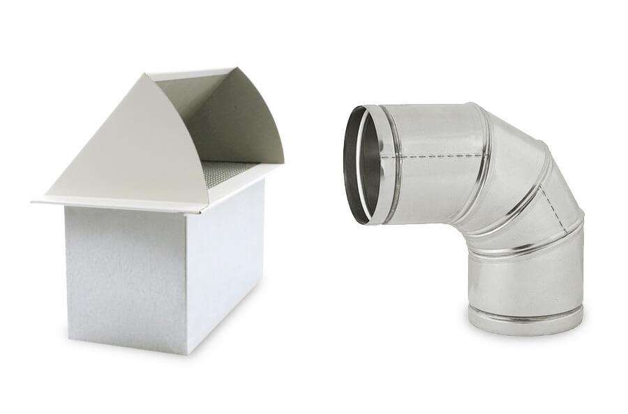 Système de ventilation, arrivée d'air et conduit rond coudé en 90°