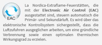 La Nordica-Extraflame-Feuerstätten, die mit der Electronic Air Control (EAC) ausgestattet sind, steuern automatisch die Primär- und Sekundärluft. Es wird über das elektronische Kontrollsystem sichergestellt, dass die Luftzufuhren ausgeglichen arbeiten, um eine gründliche Verbrennung sowie einen optimalen thermischen Wirkungsgrad zu erzielen.