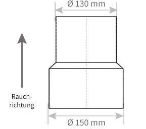 Ofenrohr Reduzierung � 150 mm > � 130 mm