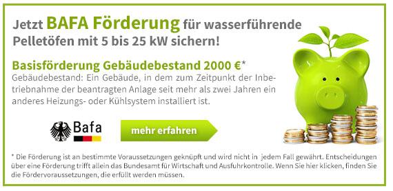 Jetzt BAFA Förderung für wasserführende Pelletöfen mit 5 bis 25 kW sichern!
