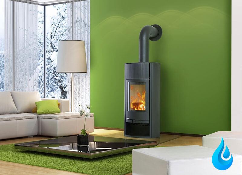 Insert de cheminée avec grande vitre, chauffage à bois