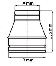 Aluflex Reduzier-/ Erweiterungsstück Maßzeichnung