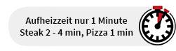 Steak 2-4 min, Pizza 1 min