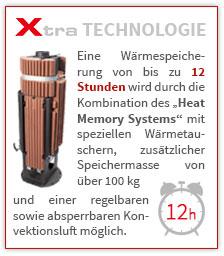 Eine Wärmespeicherung von bis zu 12 Stunden wird durch die Kombination des ?Heat Memory Systems? mit speziellen Wärmetauschern, zusätzlicher Speichermasse von über 100 kg und einer regelbaren sowie absperrbaren Konvektionsluft möglich.