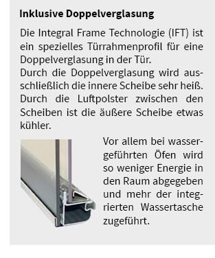 Die Integral Frame Technologie (IFT) ist ein spezielles Türrahmenprofil für eine Doppelverglasung in der Tür.