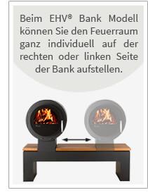 Beim EHV® Bank Modell können Sie den Feuerraum ganz individuell auf der rechten oder linken Seite der bank aufstellen.
