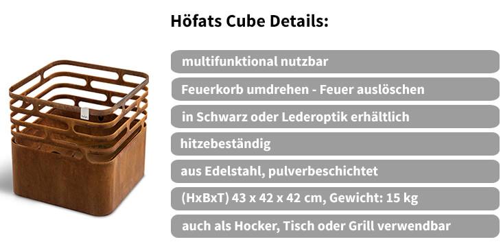 Details des Höfats Cube Feuerkorbes