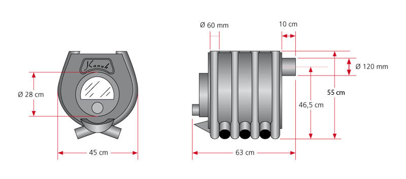 Schéma avec les dimensions d'un poêle à convection modèle Kanuk 0