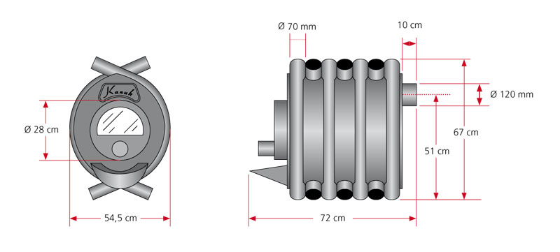 Maßzeichnung Kanuk® 1 / 10 kW mit allen relevanten Informationen