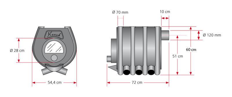 Maßzeichnung Kanuk® 1 / 10 kW / Herdplatte mit allen relevanten Informationen