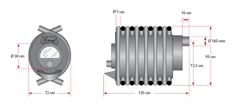Maßzeichnung Kanuk® 4 / 27 kW mit allen relevanten Informationen