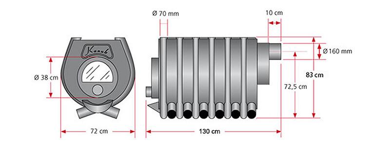Maßzeichnung Kanuk® 4 / 27 kW / Herdplatte mit allen relevanten Informationen