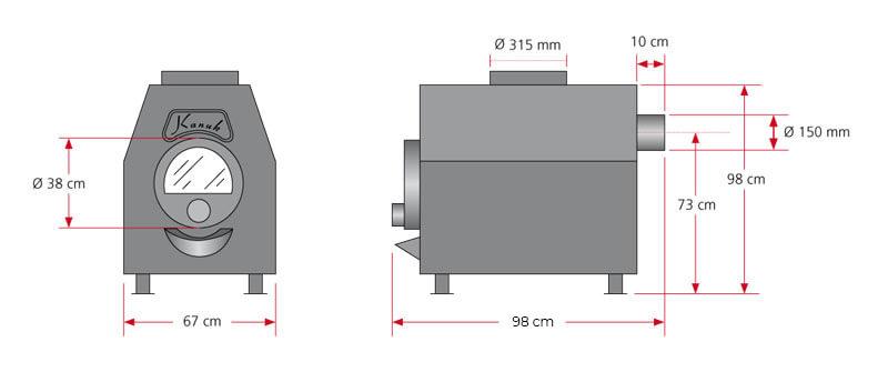 Maßzeichnung Kanuk® Turbo 1 / 20 kW mit allen relevanten Informationen