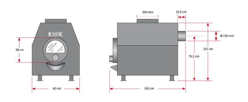 Maßzeichnung Kanuk® Turbo 2 / 30 kW mit allen relevanten Informationen