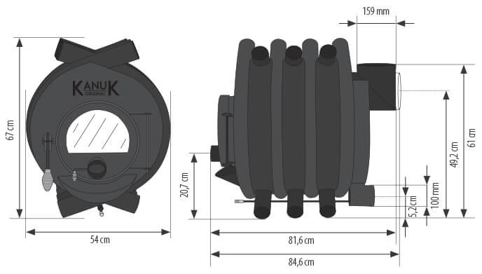 Maßzeichnung Kanuk Original 13 kW mit allen relevanten Informationen