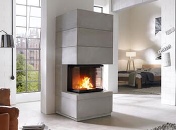 Kamin in Betonoptik: Modernes Design mit Wärmespeicher