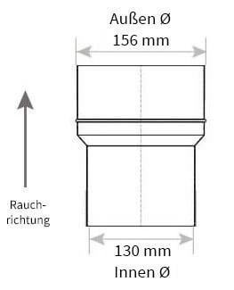 Technische Zeichnung Ofenrohrerweiterung 130 auf 160 mm