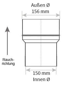 Technische Zeichnung Ofenrohrerweiterung 150 auf 160 mm