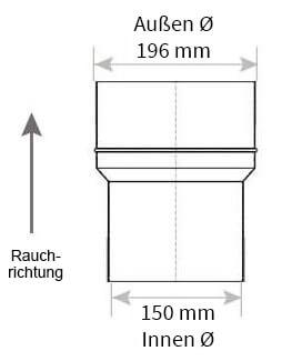 Technische Zeichnung Ofenrohrerweiterung 150 auf 200 mm