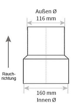 Technische Zeichnung Ofenrohrreduzierung 160 auf 120 mm