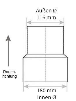 Technische Zeichnung Ofenrohrreduzierung 180 auf 120 mm