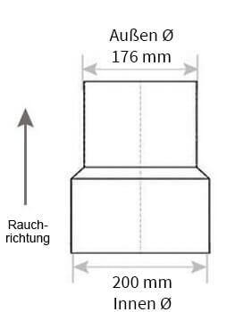 Technische Zeichnung Ofenrohrreduzierung 200 auf 180 mm