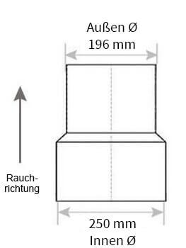 Technische Zeichnung Ofenrohrreduzierung 250 auf 200 mm