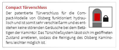 Der patentierte Türverschluss für die Compact-Modelle von Olsberg funktioniert hydraulisch und ist somit sehr verschleißarm und es entstehen keine störenden Geräusche bei dem Betätigen der Kamintür. Das Türschließsystem lässt sich im geöffneten Zustand arretieren, sodass die Reinigung des Olsberg Kaminofens leichter möglich ist.