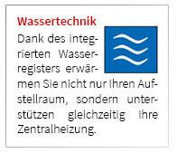 Dank des integrierten Wasserregisters erwärmen Sie nicht nur Ihren Aufstellraum, sondern unterstützen gleichzeitig Ihre Zentralheizung.