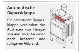 Die patentierte Bypassklappe verhindert das Austreten von Heizgasen und sorgt für einen noch besseren und ruhigeren Abbrand.