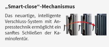 Das neuartige, intelligente Verschluss-System mit Anpresstechnik ermöglicht ein sanftes Schließen der Kaminofentür.