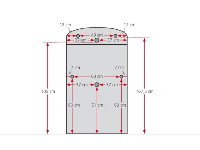 Schéma du poêle bouilleur Valencia avec indication des dimensions des raccords