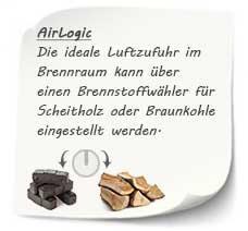 Die ideale Luftzufuhr im Brennraum kann über einen Brennstoffwähler für Scheitholz oder Braunkohle eingestellt werden.