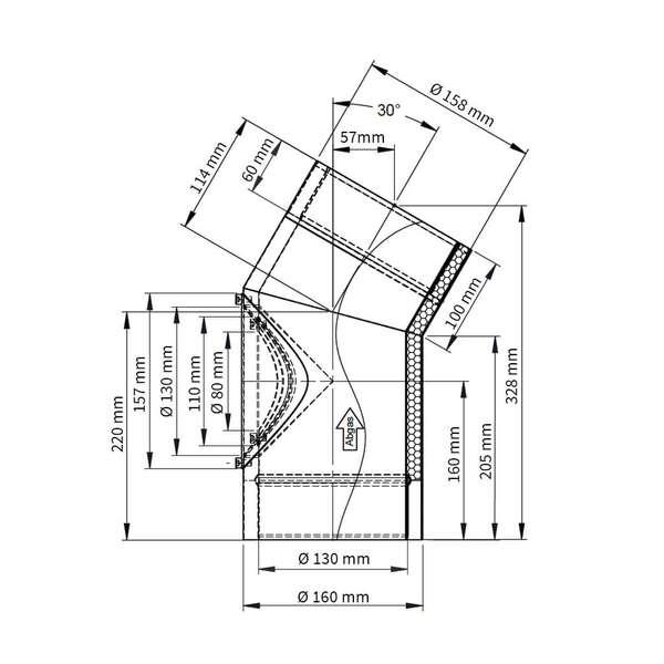 ofenrohr doppelwandiger winkel 30 t r. Black Bedroom Furniture Sets. Home Design Ideas