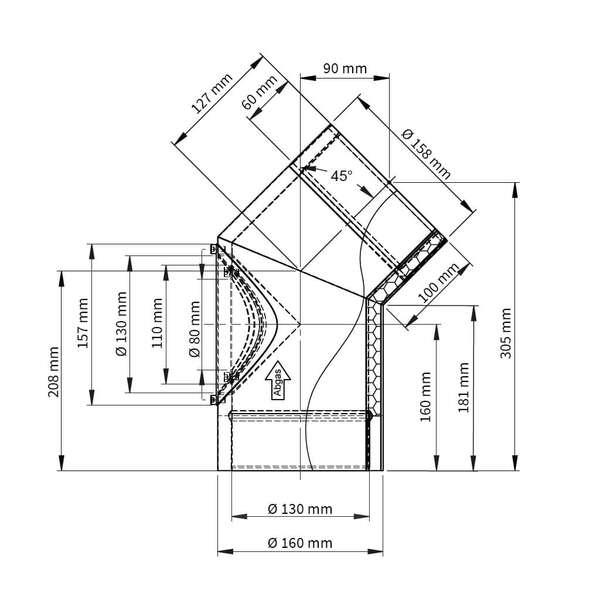 ofenrohr doppelwandig winkel 45 t r iso line bogen. Black Bedroom Furniture Sets. Home Design Ideas