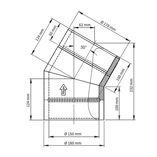 ofenrohr doppelwandiger winkel 30 iso line bogen. Black Bedroom Furniture Sets. Home Design Ideas
