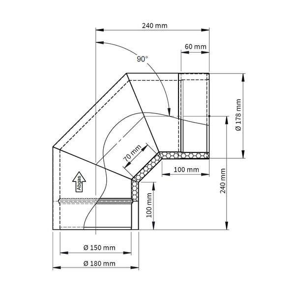 ofenrohr doppelwandig winkel 90 iso line jeremias. Black Bedroom Furniture Sets. Home Design Ideas