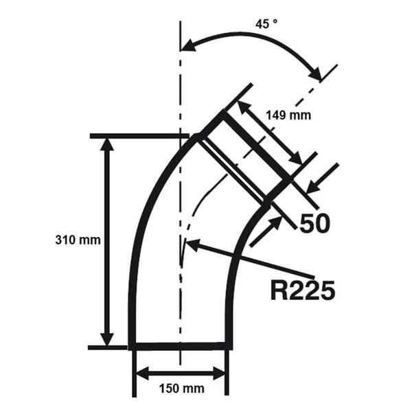 Ordentlich Ø 150 mm - Bogen gezogen 45° Schwarz | ofenseite.com PJ25