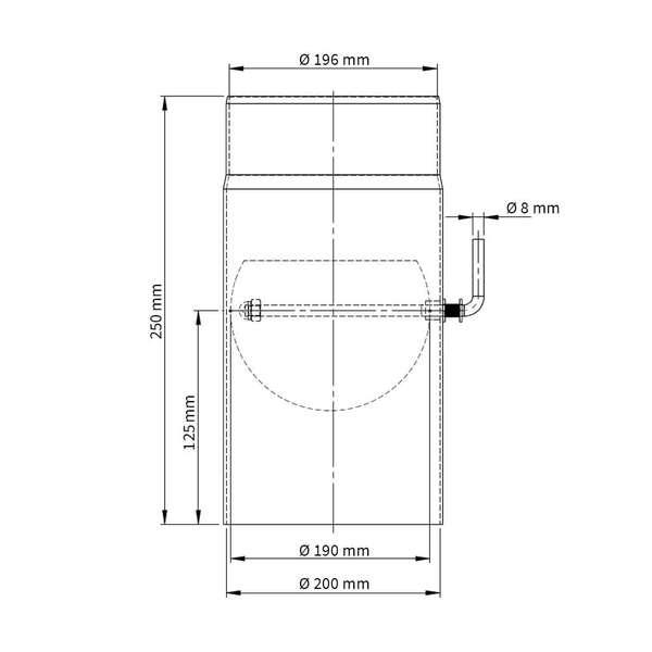 200 mm ofenrohr 25 cm mit drosselklappe. Black Bedroom Furniture Sets. Home Design Ideas
