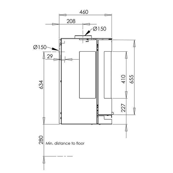 po le bois aduro 9 4 noir 6 kw chez ofe. Black Bedroom Furniture Sets. Home Design Ideas